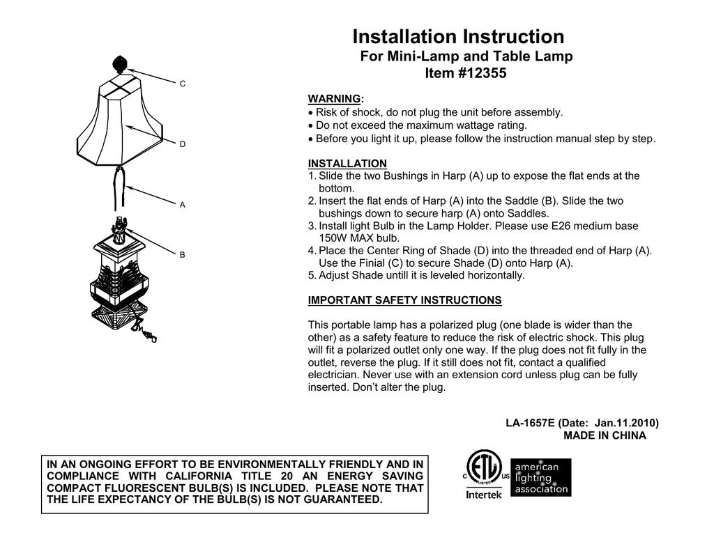 Item and For Table Installation Lamp Instruction Mini Lamp nwOPk0