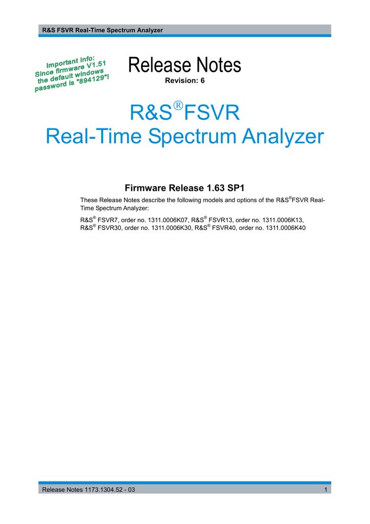 R&S®FSVR Release Notes Version 1 63 SP1   manualzz com
