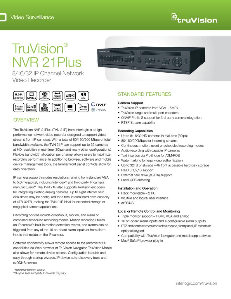 TruVision NVR 21Plus Data Sheet | manualzz com