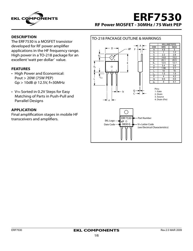 Erf7530 Datasheet Rev 20 75w Transistor Audio Amplifier