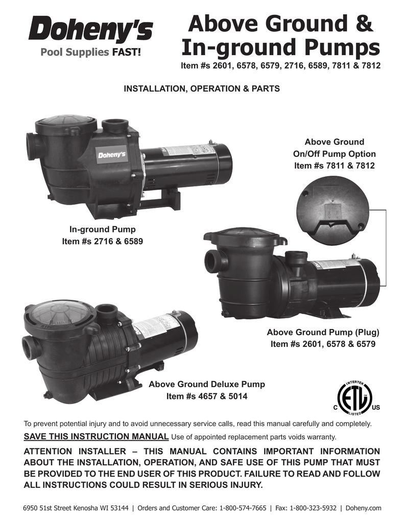 dohenys inground pool pump manual manualzz com Pool Pump 220V Wiring Diagram  at Doheny Pool Pump