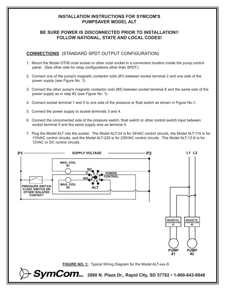 Installation Instructions For Symcoms Pumpsaver Model Alt Spdt Float Switch Wiring Diagram