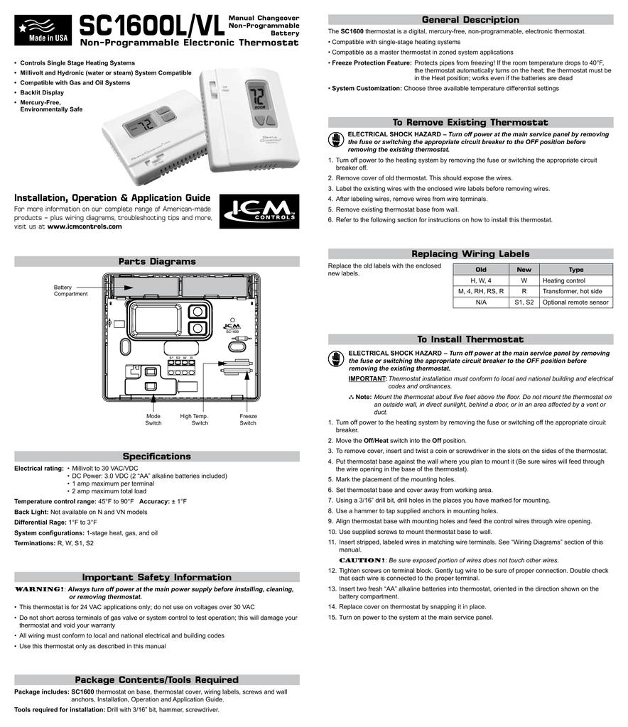 Sc1600l Vl General Description Non Programmable Electronic Thermostat Wiring