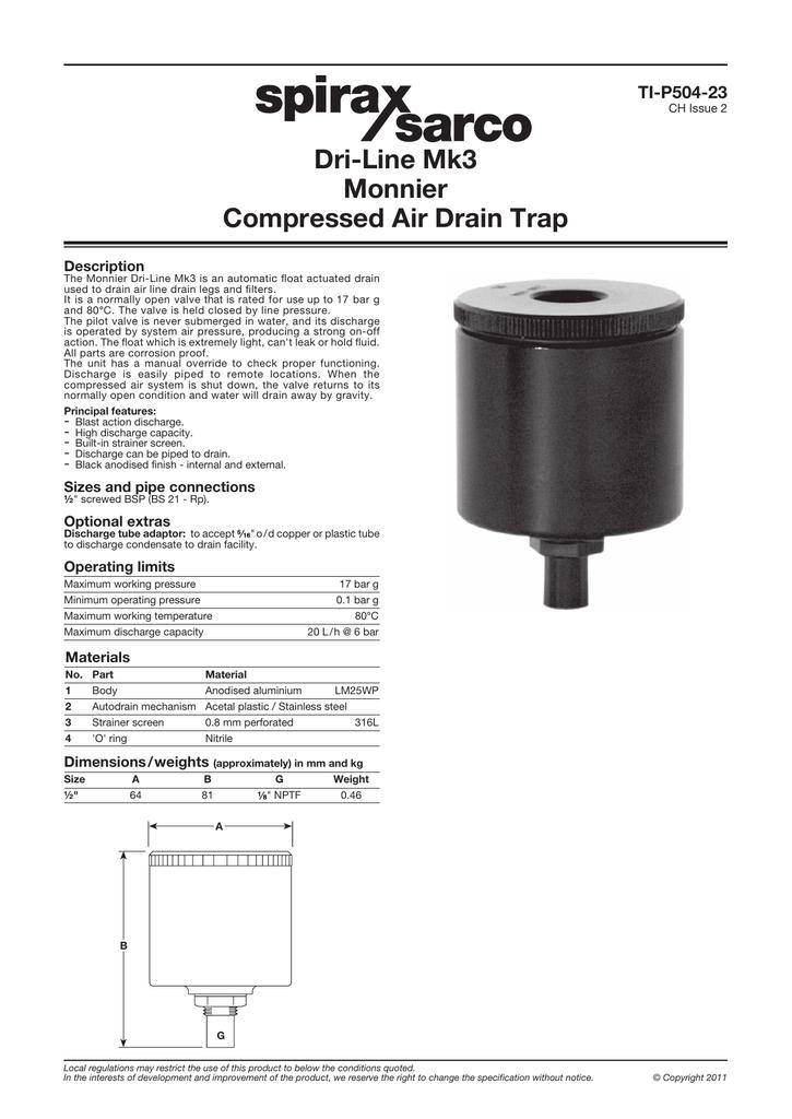 Dri-Line Mk3 Monnier Compressed Air Drain Trap | manualzz com