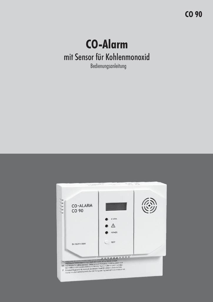 CO-Alarm mit Sensor für Kohlenmonoxid CO 90 Bedienungsanleitung ...