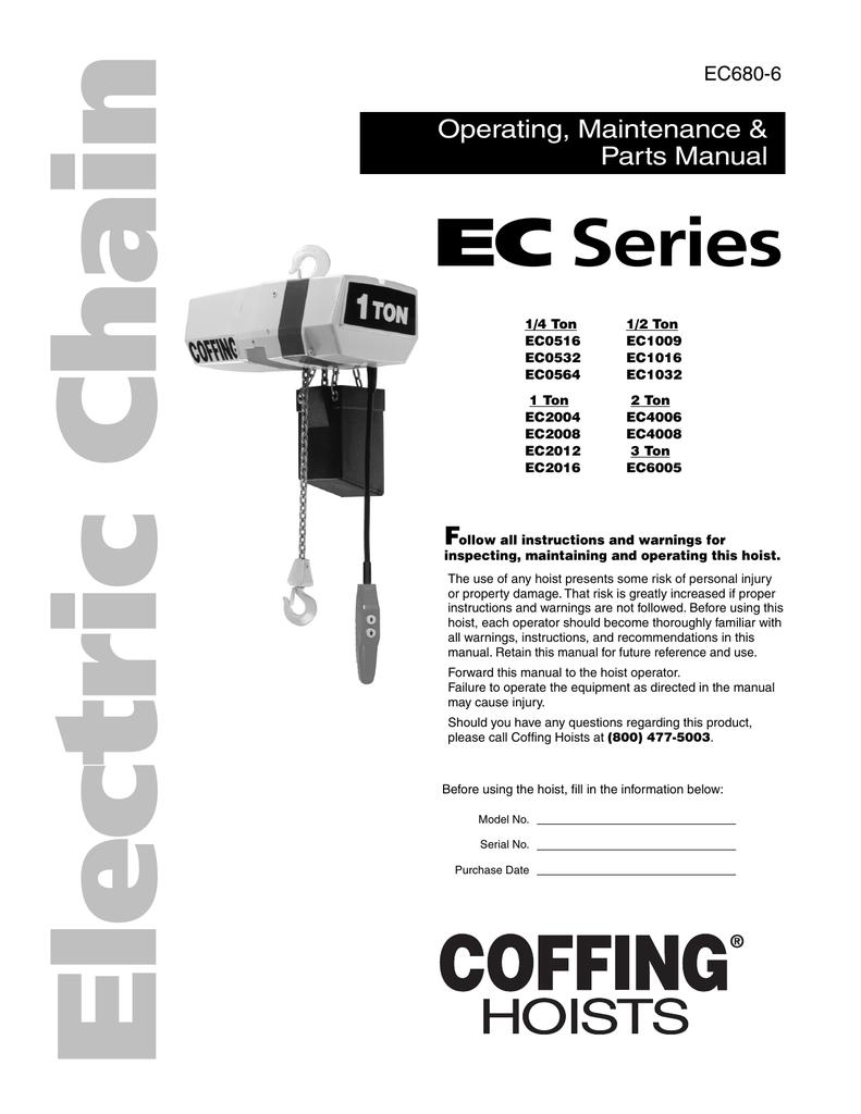 Coffing Ec Series Electric Chain Hoist  Ec680