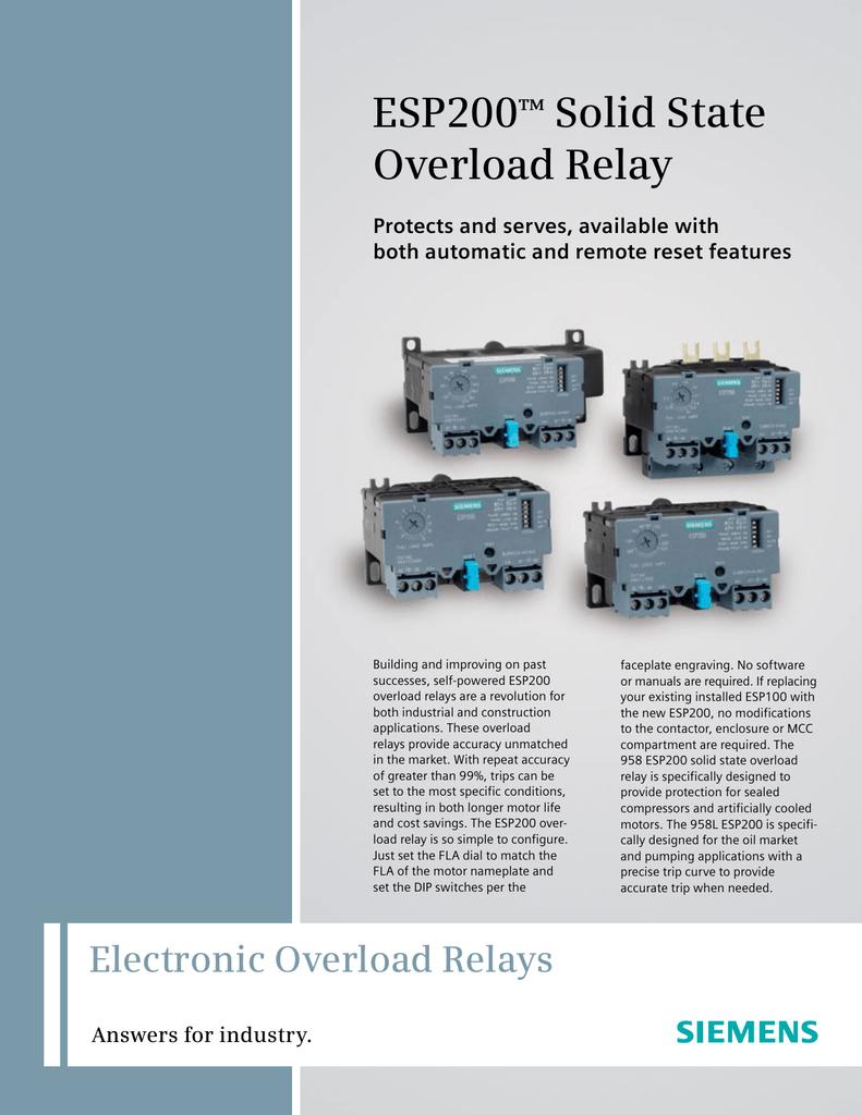 ESP200 Solid State Overload Relay ™ | manualzz.com