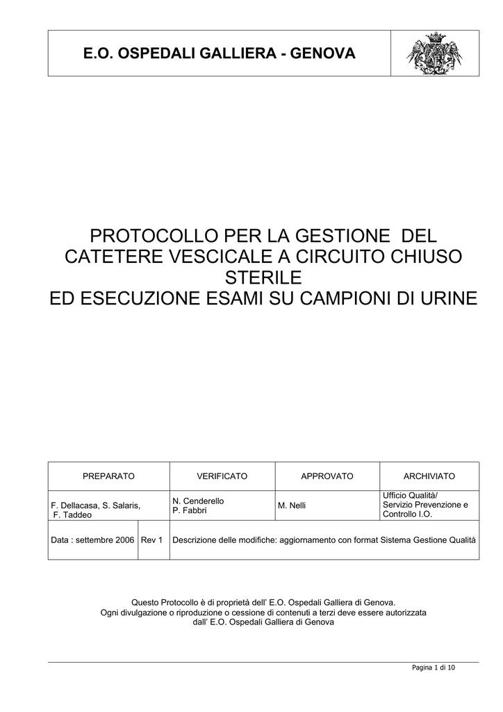 Protocollo Gestione Catetere Vescicale A Circuito Chiuso