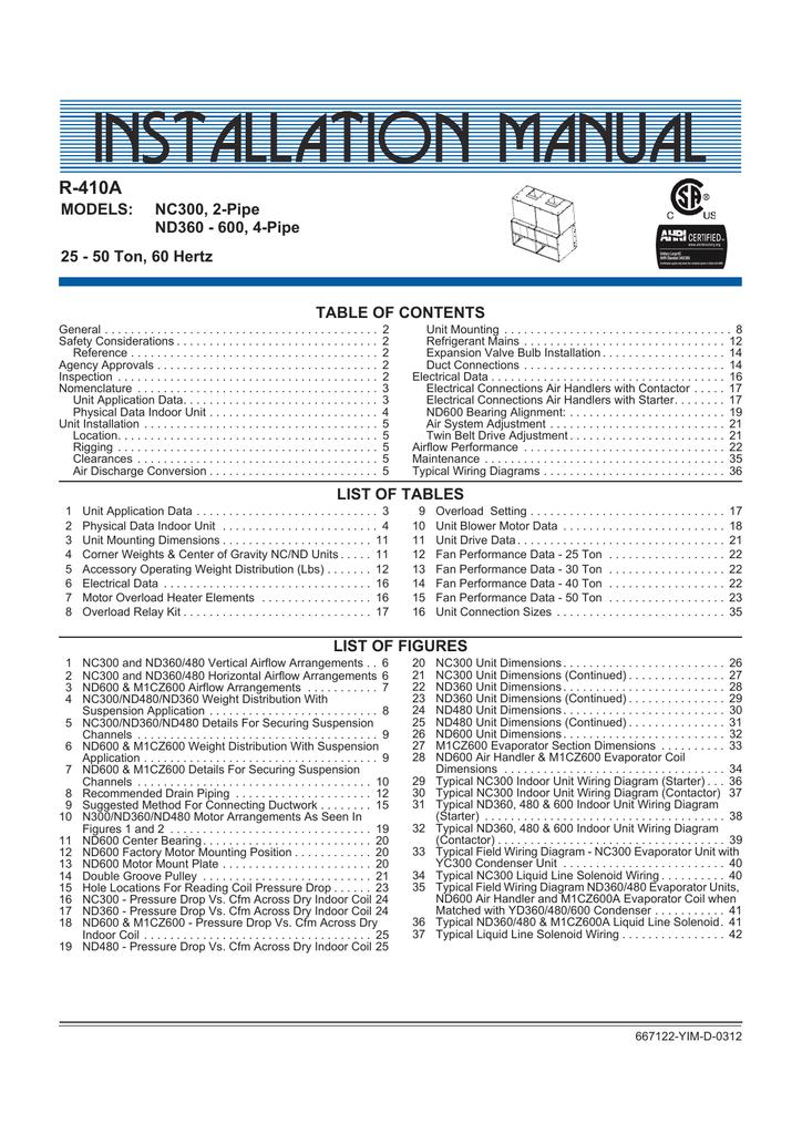 IOM - Predator R410A - Indoor Unit Sizes 360-600 | manualzz com