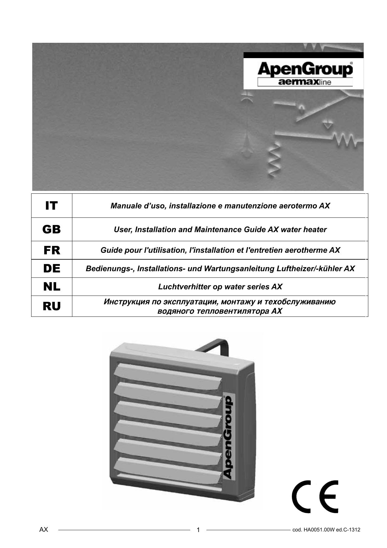 Aerotermi Ad Acqua.Apen Group Aerotermi Serie Ax Manualzz Com