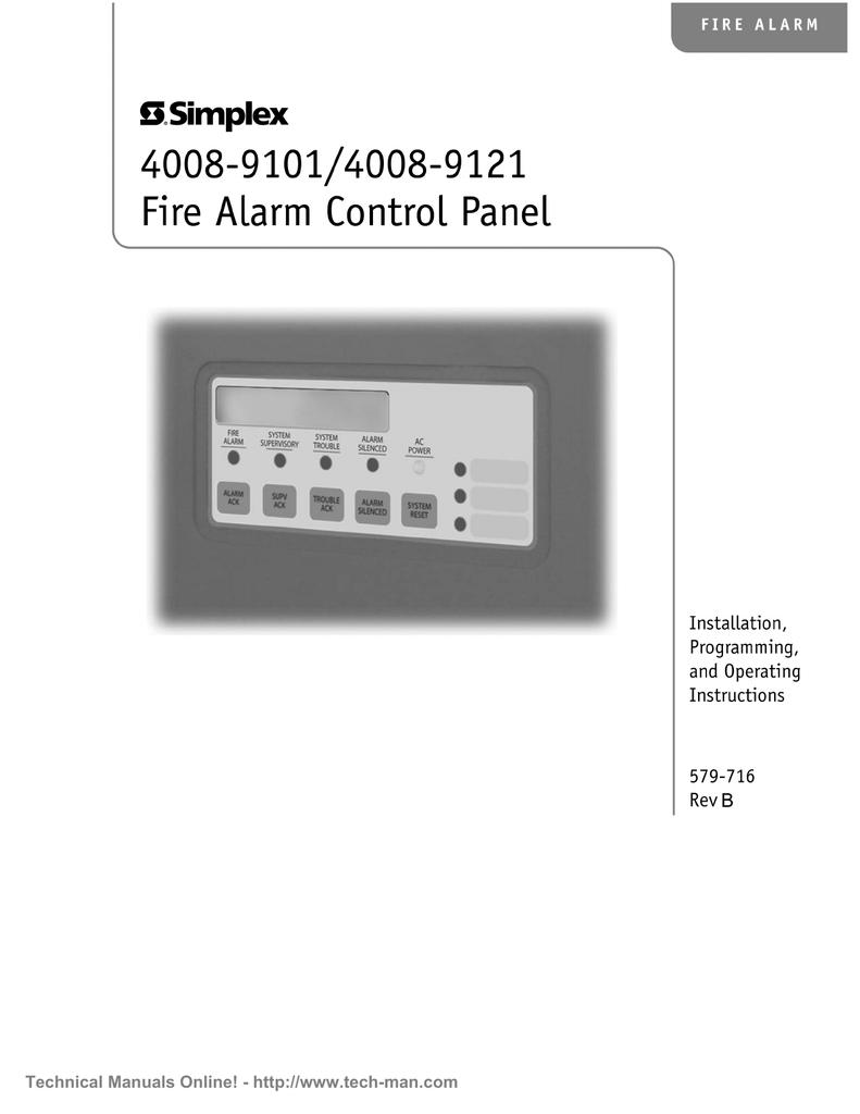 Simplex 4008-9101+Installation+Programming+ +Operation+Manual+Rev+B