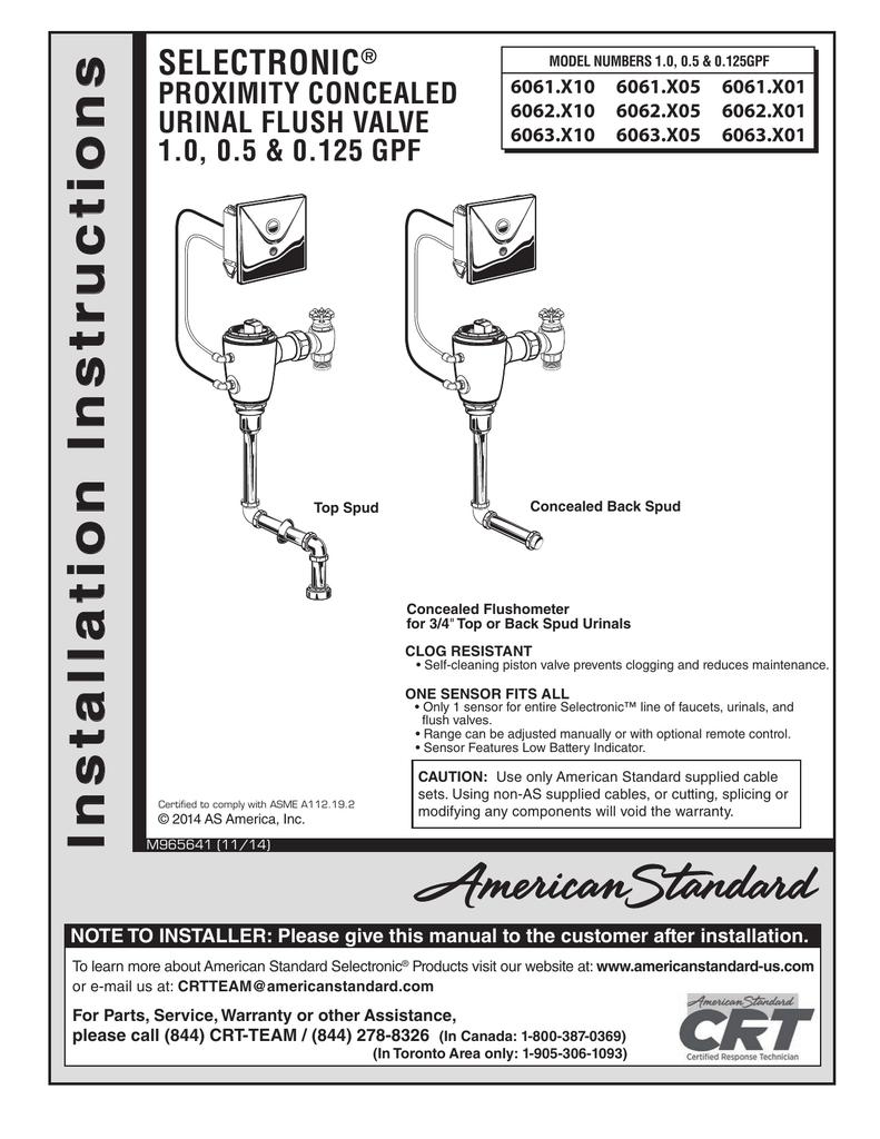 Uctions S N O American Standard Urinal Wiring Diagram
