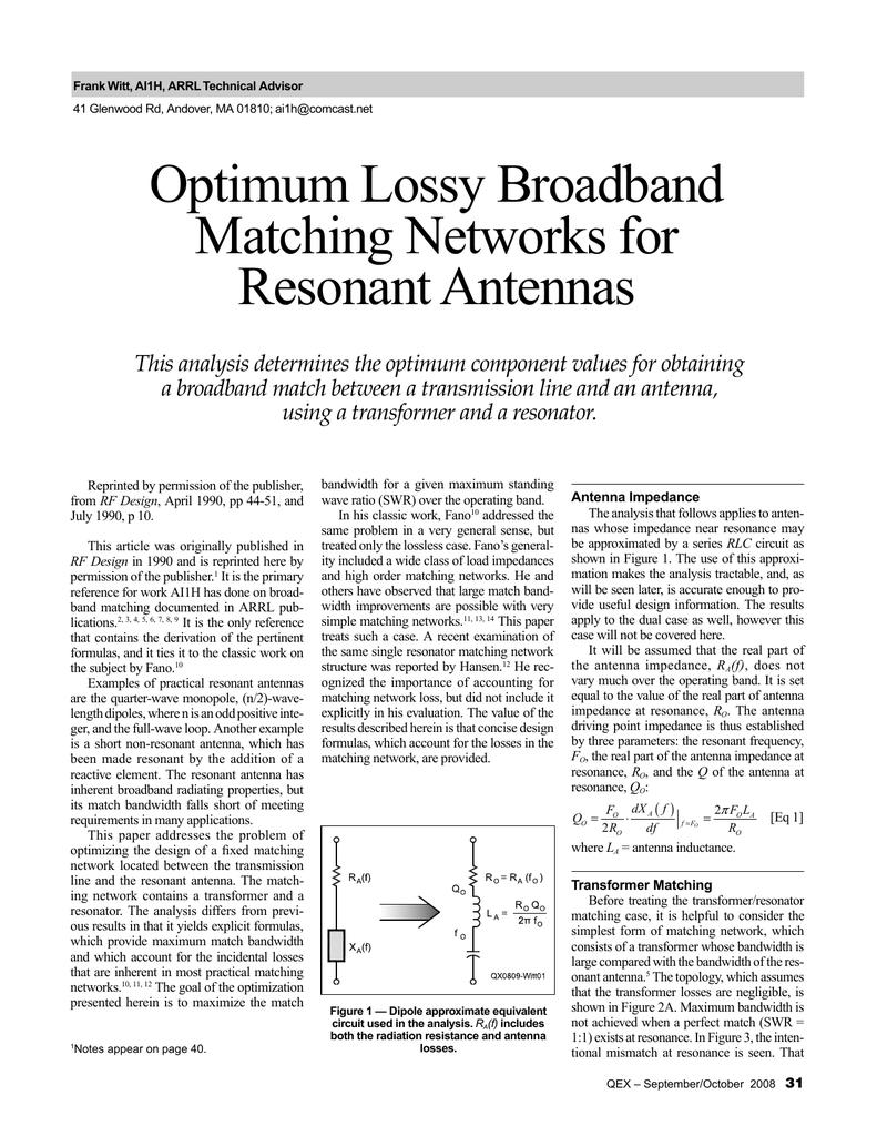 Optimum Lossy Broadband Matching Networks for Resonant
