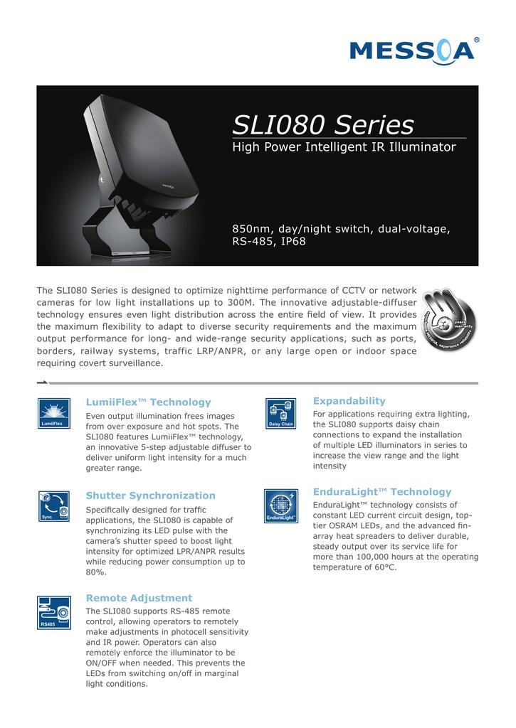SLI080 Series High Power Intelligent IR Illuminator 850nm, day/night