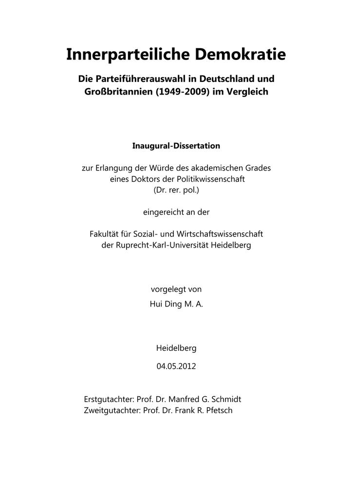 Innerparteiliche Demokratie Die Parteifuhrerauswahl In Deutschland Und Grossbritannien 1949 2009 Im Vergleich Manualzz