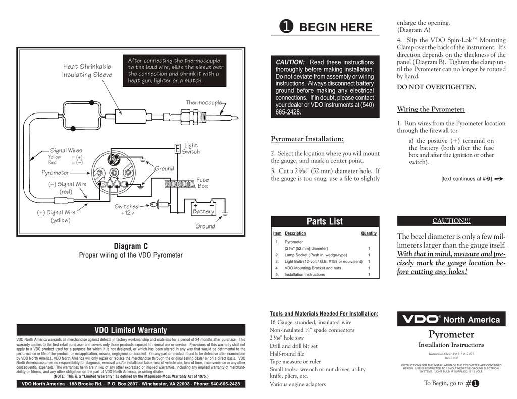 vdo cht gauge wiring diagram vdo pyrometer gauges install instructions manualzz  vdo pyrometer gauges install