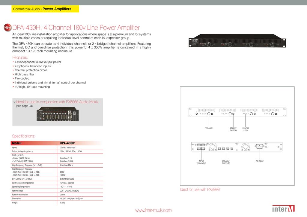 DPA-430H: 4 Channel 100v Line Power Amplifier Power