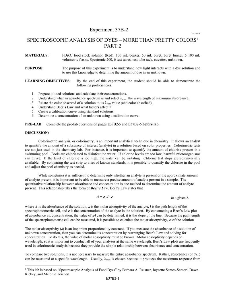 Spectroscopic Analysis of Dyes II | manualzz com