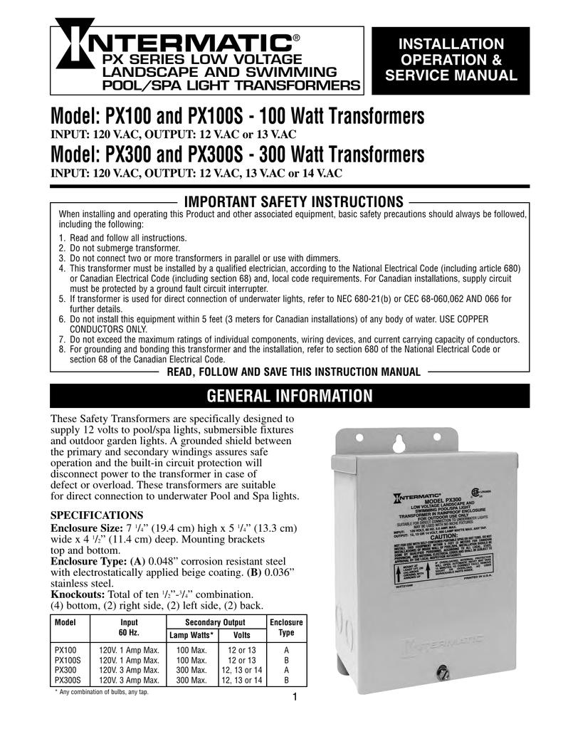Intermatic Px100 Px300 Install Manaul Manualzz