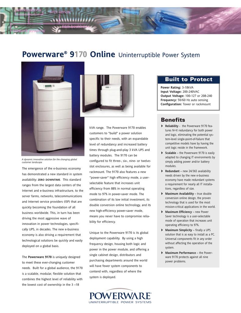 9170 UPS | manualzz.com Ups Powerware Pw Wiring Diagram on