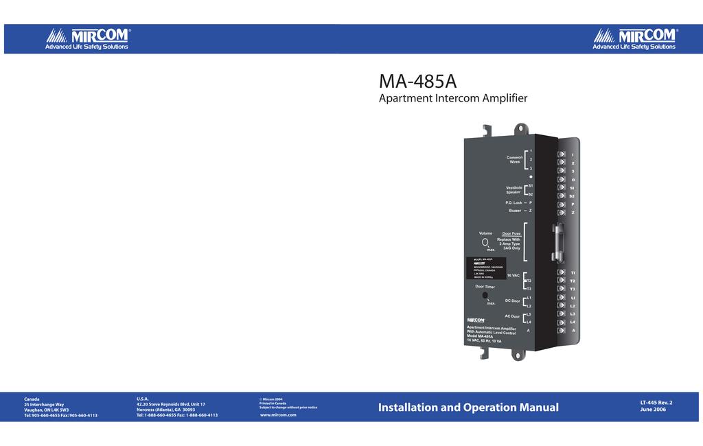 MA-485A Apartment Intercom Amplifier Installation and ... on intercom circuit diagram, intercom schematic diagram, intercom connection diagram, cat5e diagram, intercom cable, security diagram, sample block diagram, door bell diagram,