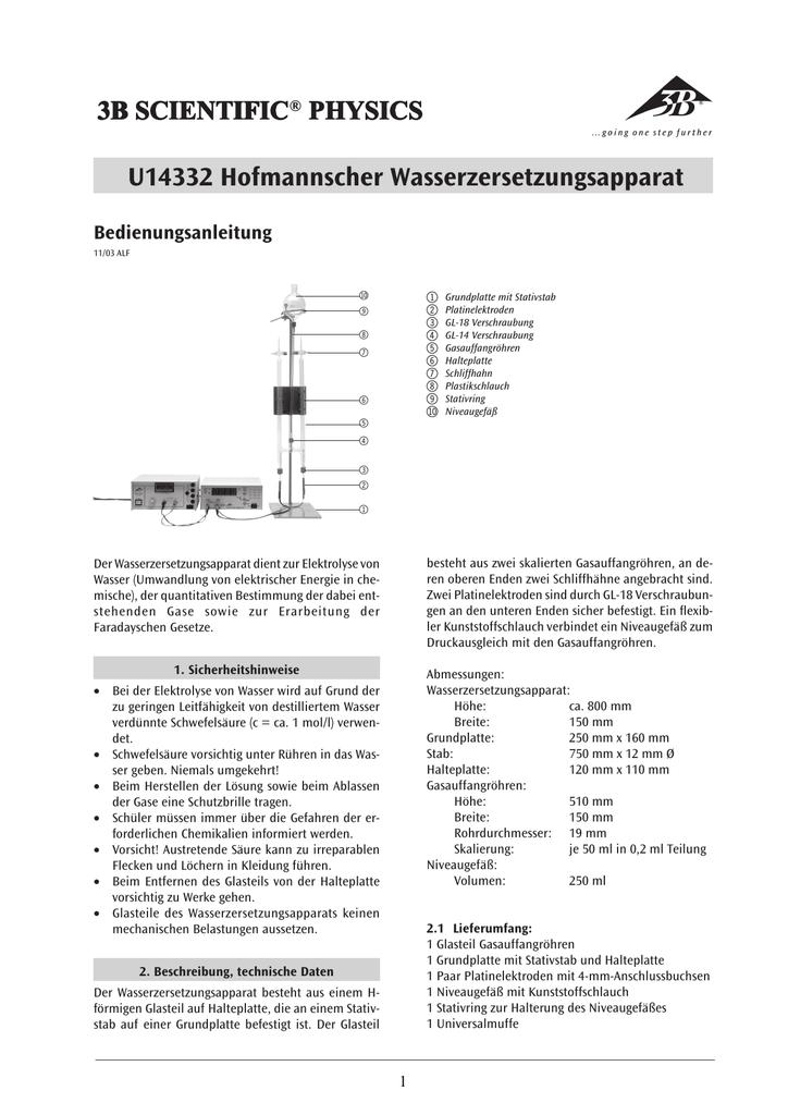 S 3B Scientific U58010 Hofmannscher Wasserzersetzungsapparat