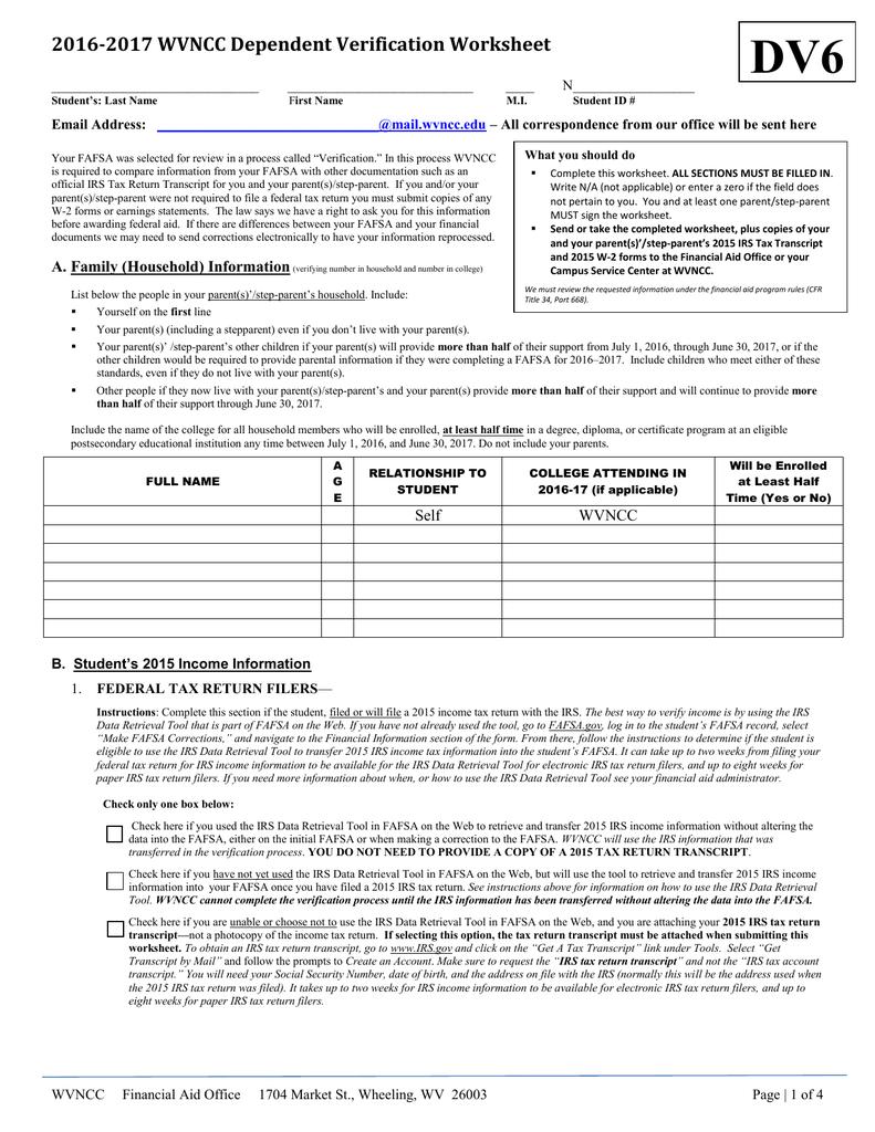 Dependent Verification Worksheet GROUP 6 | manualzz com