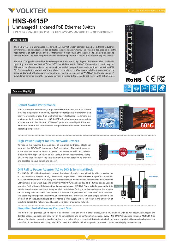 HNS-8415P Unmanaged Hardened PoE Ethernet Switch | manualzz com