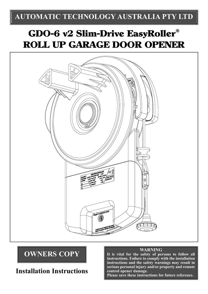 Gdo 6 V2 Slim Drive Easyroller Roll Up Garage Door Opener Owners Copy Manualzz