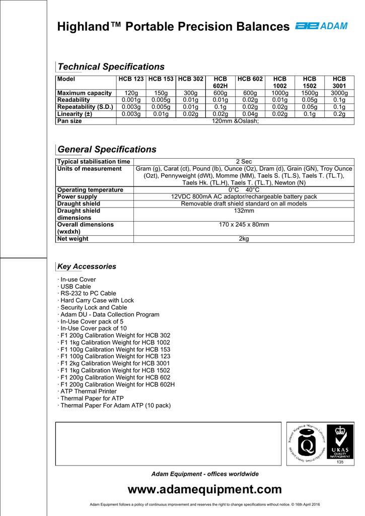 120g Capacity 0.001g Readability Adam Equipment Highland HCB 123 Portable Precision Balances