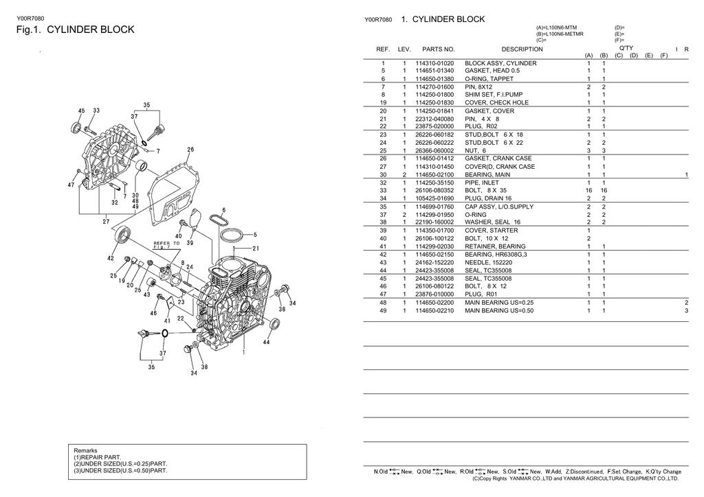 Каталог деталировка на двигатель Янмар Yanmar L100 V, L100V, L 100 V