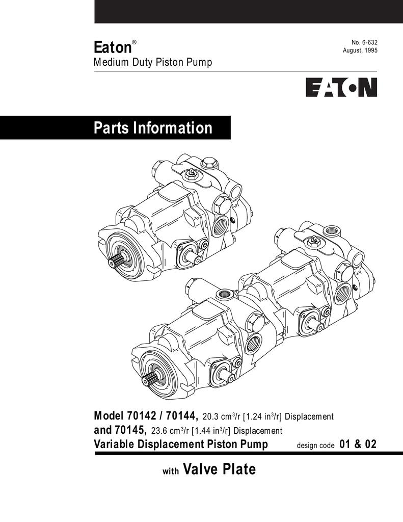 Eaton Parts Information Valve Plate Model 70142 / 70144, | manualzz com