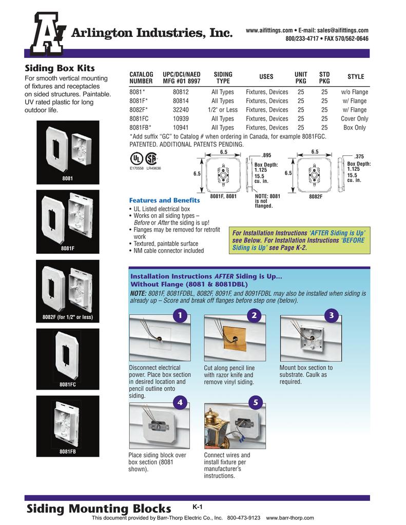 "Non-Metallic Flange Box for 1//2/"" or 1-1//4/"" Arlington FR420F"