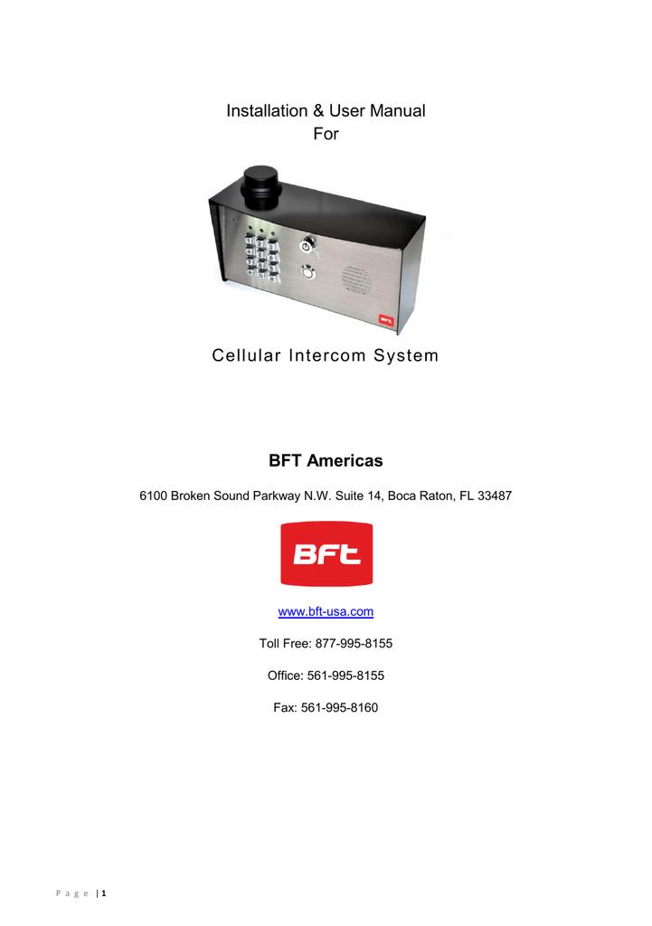 BFT-CELLBOX-NKP_Installation Manual | manualzz com