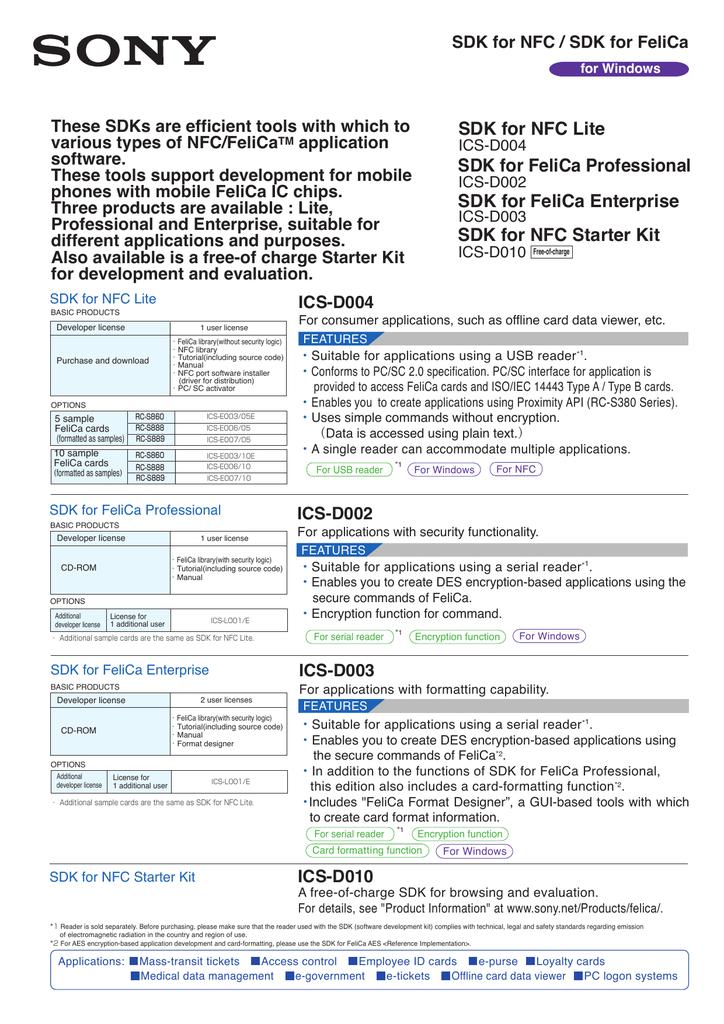 ICS-D004/40E (SDK for NFC Lite) | Manualzz