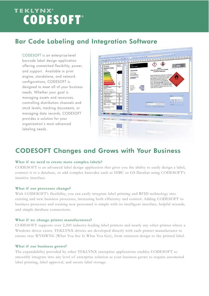 CODESOFT Bar Code Labeling and Integration Software