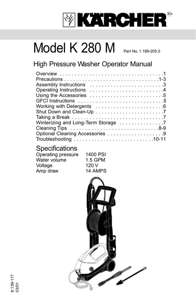 Model K 280 M High Pressure Washer Operator Manual