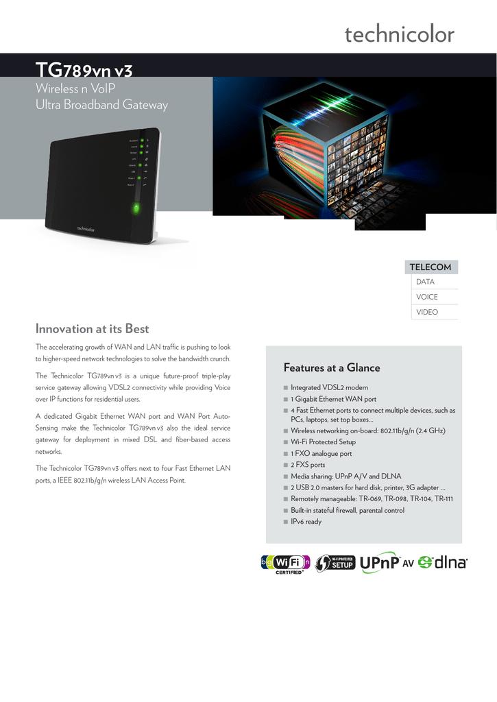 Technicolor TG789vn v3 Datasheet | manualzz com