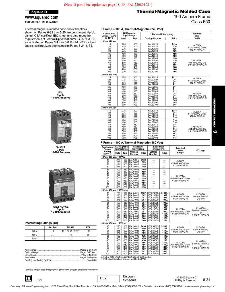 Square D Fal22060 Details About Kal36100 100 Amp 600 Volts Circuit Breaker