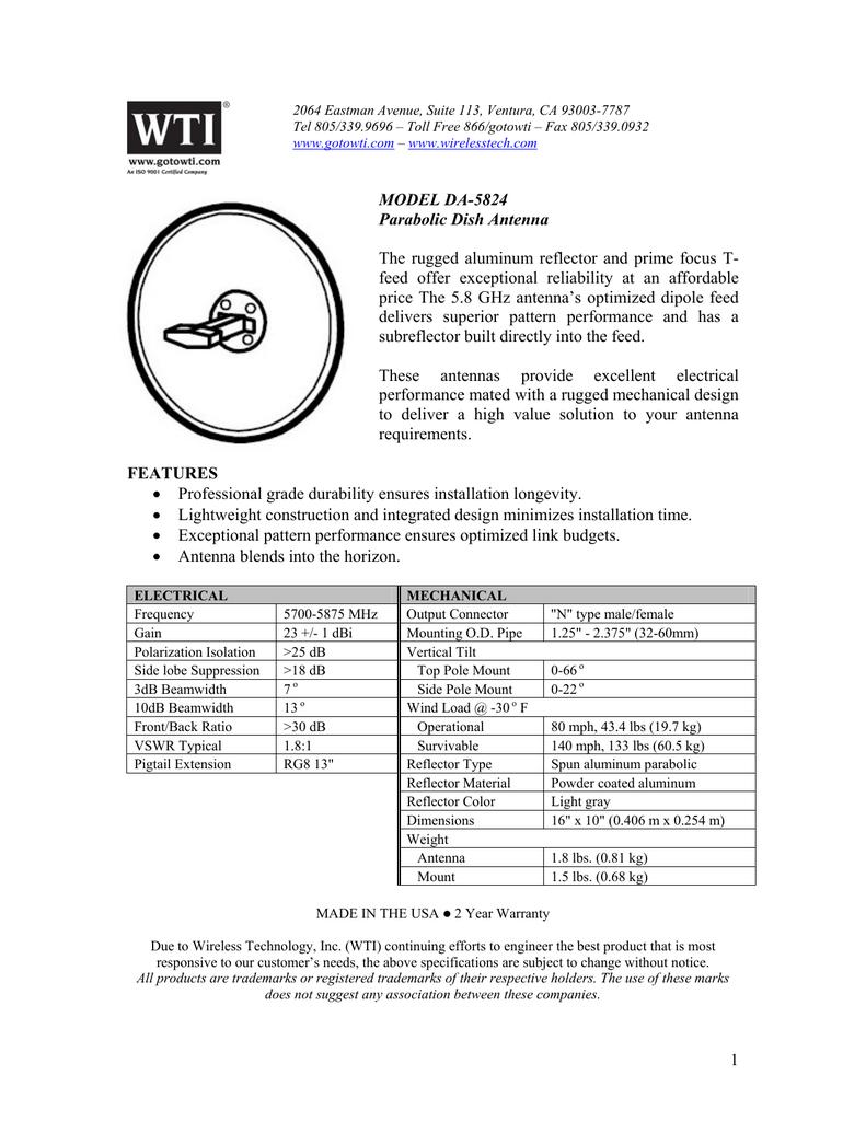 DA-5824 : Parabolic Dish Antenna | manualzz com