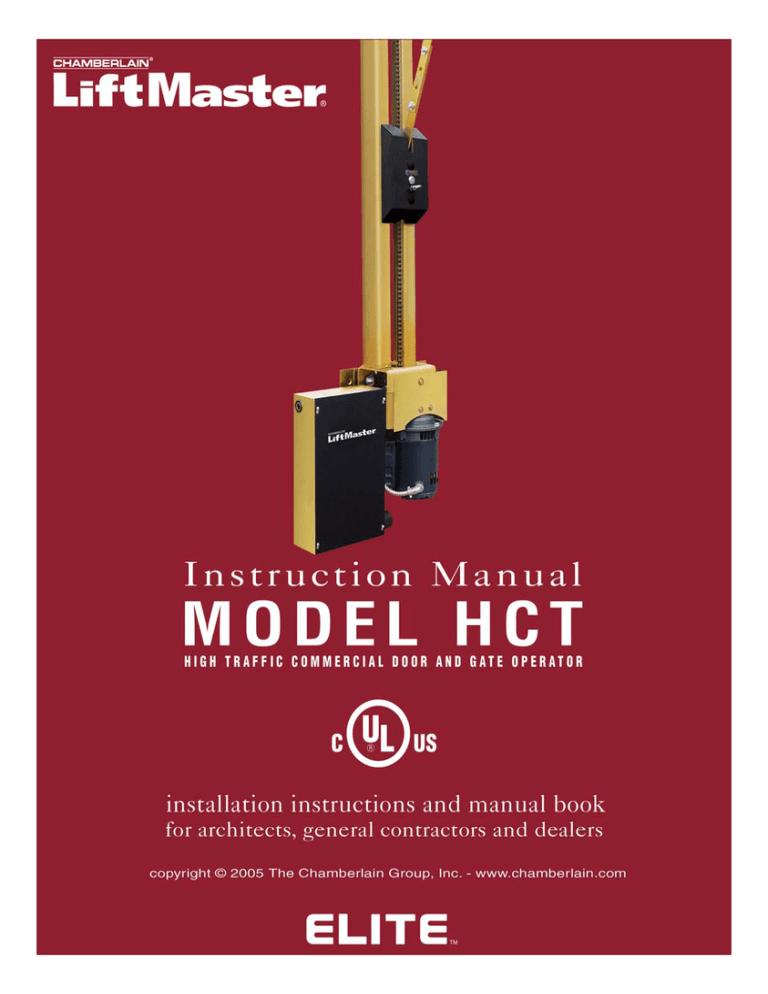 Elite Hercules HCT Commercial Over Head Door Opener Manual | ManualzzManualzz