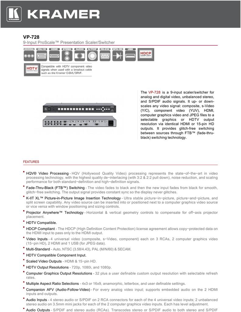 KRAMER VP-730 PRESENTATION SCALER-SWITCHER HDMI EDID DRIVERS FOR PC