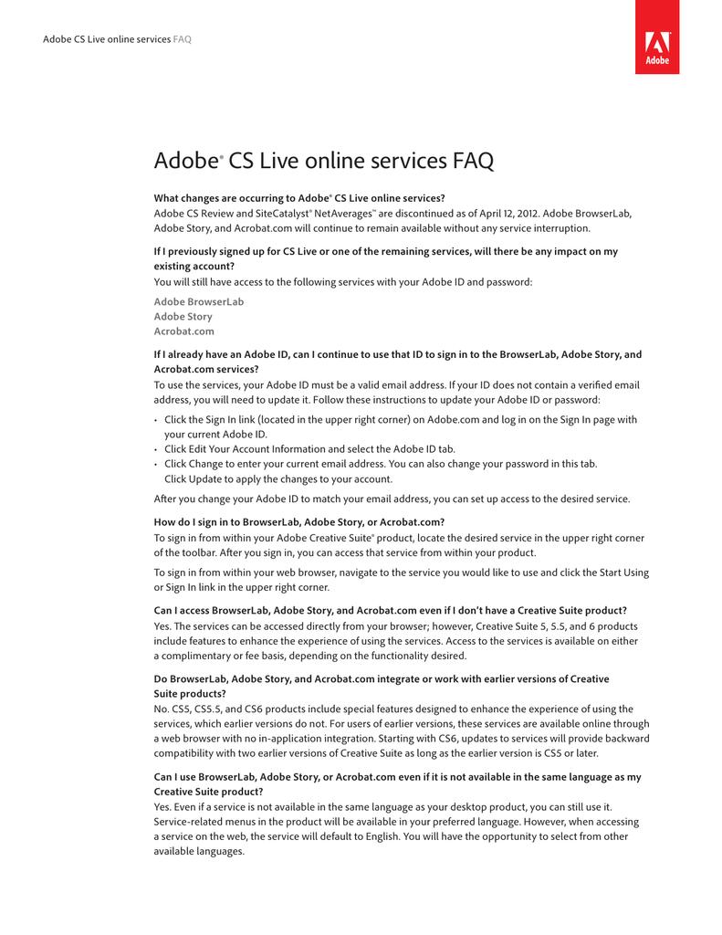 Adobe CS Live FAQ | manualzz com