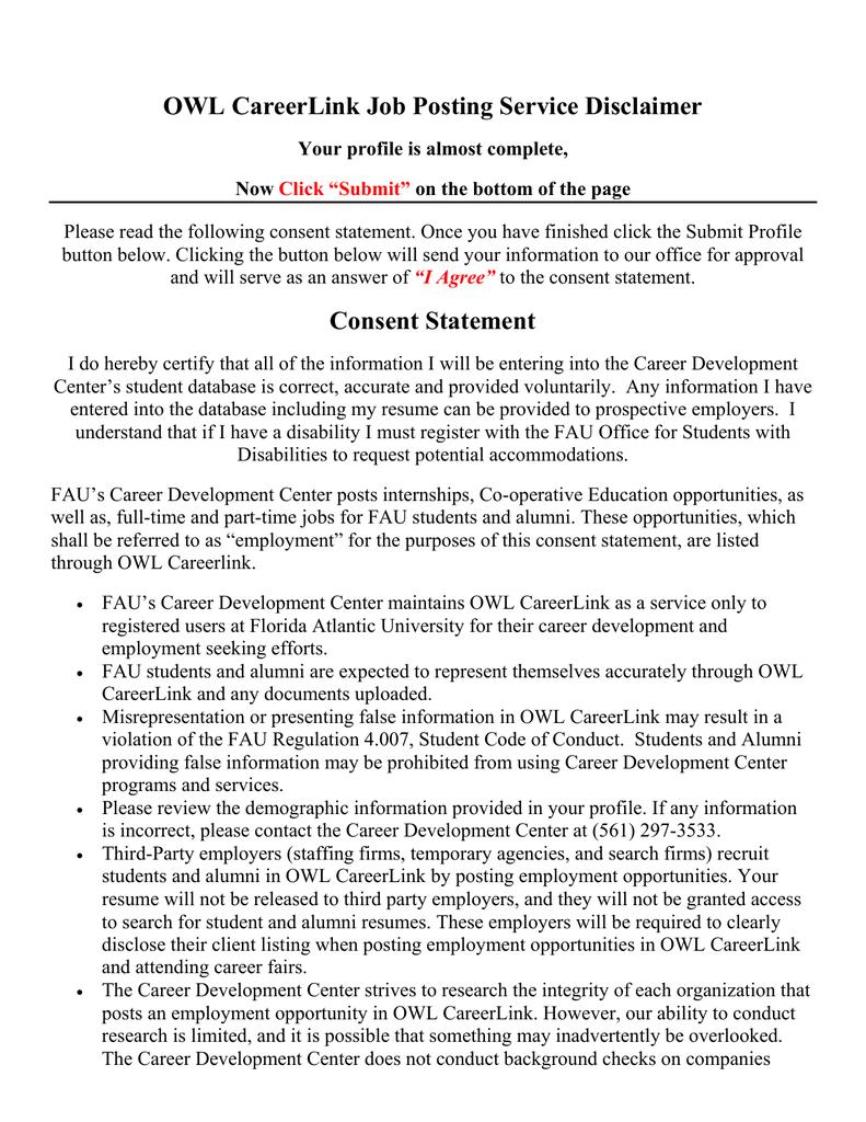 owl careerlink job posting service disclaimer