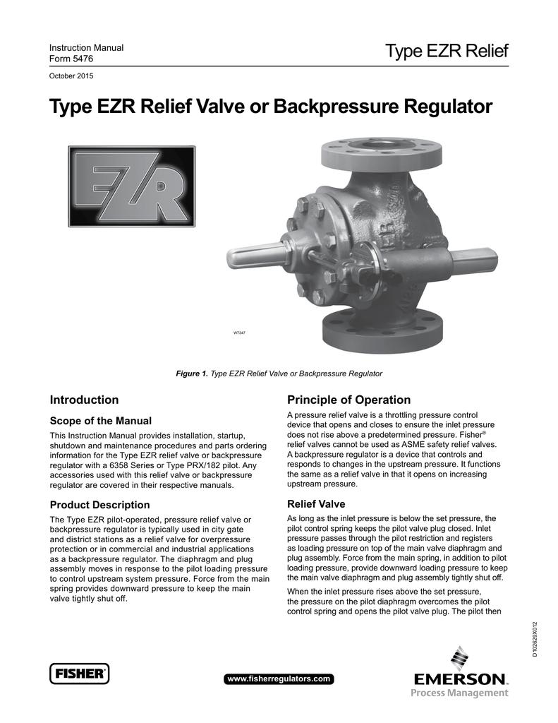 Type EZR Relief Valve or Backpressure Regulator Type EZR