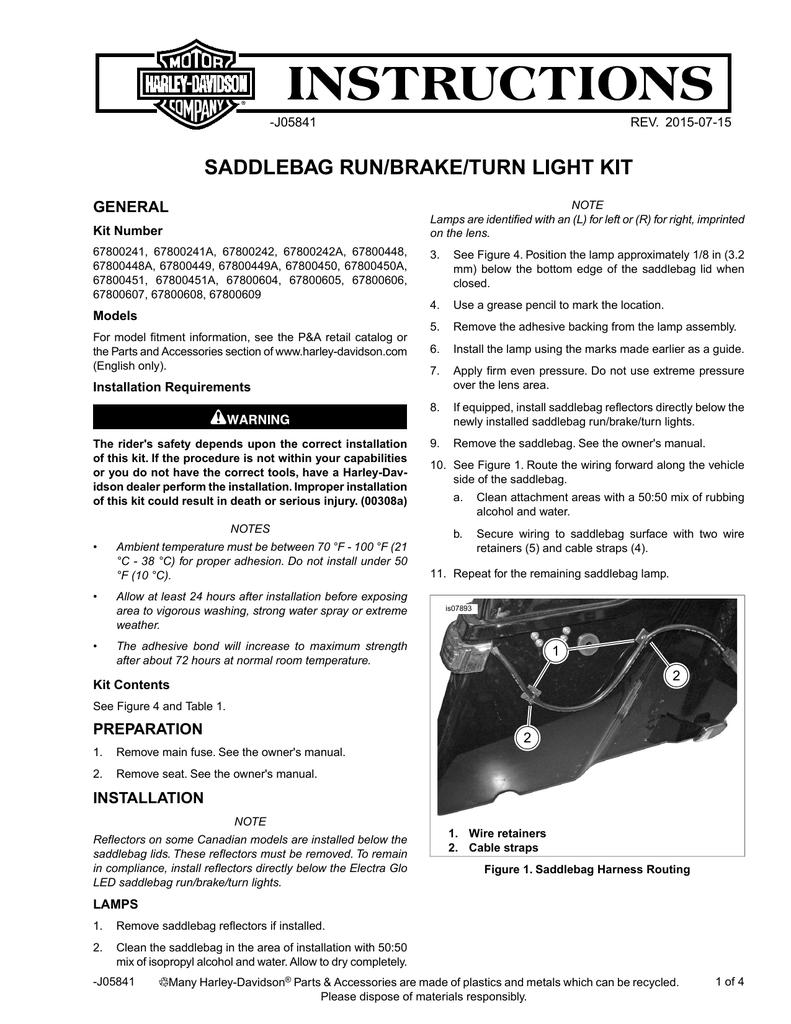 Electra Glo Led Saddlebag Run Brake Turn Lamp Instruction Sheet 2014 Harley Speaker Wiring Diagram
