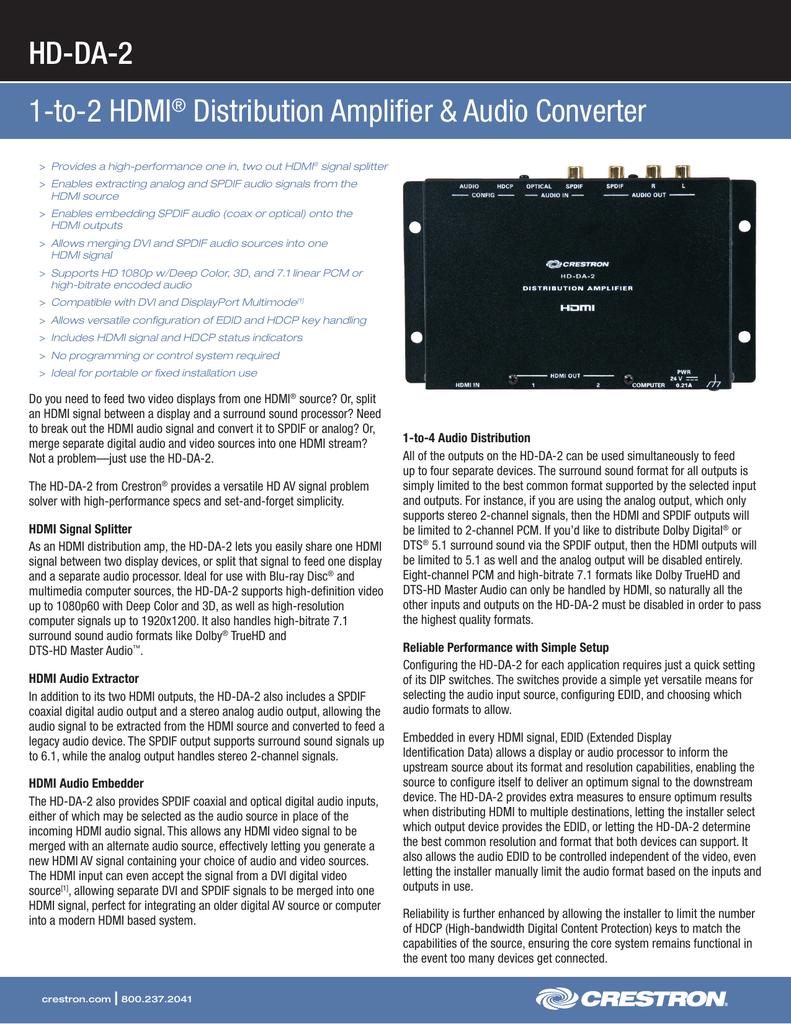 HD-DA-2 1-to-2 HDMI Distribution Amplifier &