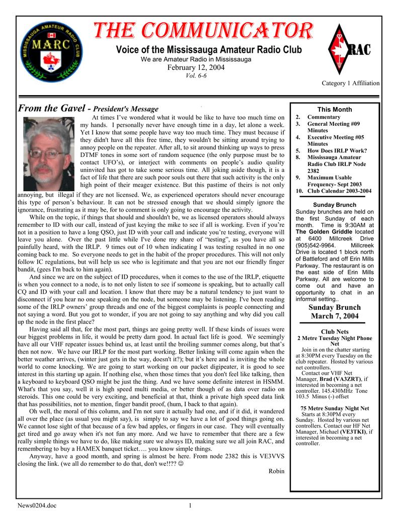 MARC Newsletter 2004 February (VA3QC) | manualzz com