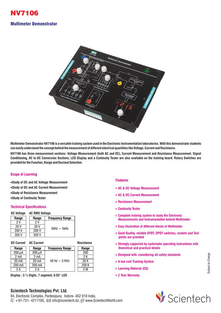 NV7106 Multimeter Demonstrator | manualzz com