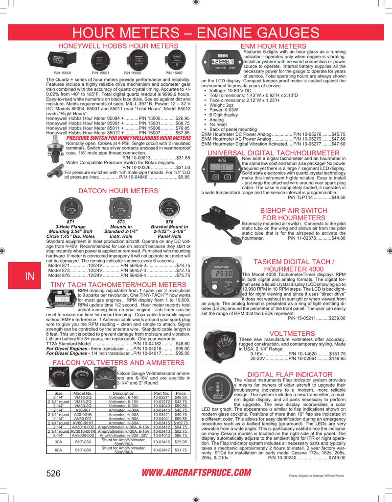Page 526: Hour Meters … Engine Gauges, Honeywell Hobbs Hour Meters ...